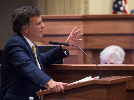 Sen. Arthur Orr speaks during the projected final day of the legislatures spring session at the Alabama State House in Montgomery, Ala., on Friday, May 31, 2019.