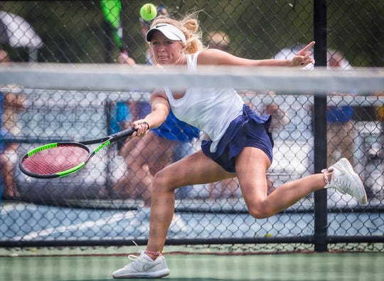 FILE -- Delta's Ellie Snider goes for a ball during the Eagles' match against Indianapolis Cathedral during the state quarterfinals. Snider put together another successful year this season.