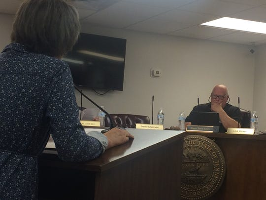 Gina BInkley of the Braxton Lee Homestead Foundation addresses Ashland City Mayor Steve Allen and the Ashland City Council at its special-called meeting Thursday, May 30.