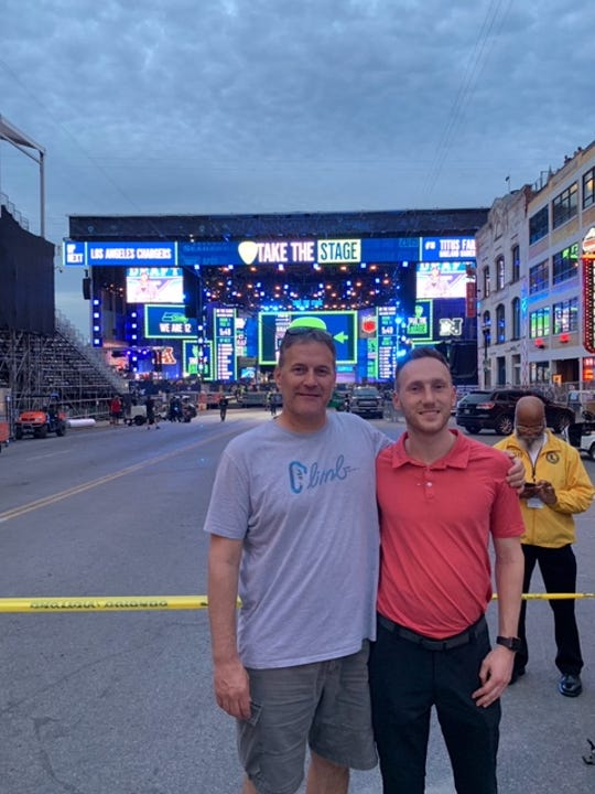 Brian and Brady Gaulke at the NFL Draft in Nashville in April.