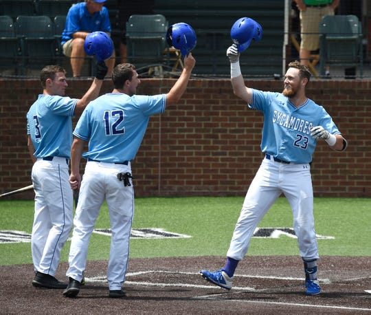 Indiana State first baseman Dane Tofteland (23) is congratulated after his two-run homer to make the score 6-4 over McNeese State in the bottom of the fifth inning during the NCAA Division I Baseball Regionals at Hawkins Field Friday, May 31, 2019, in Nashville, Tenn.
