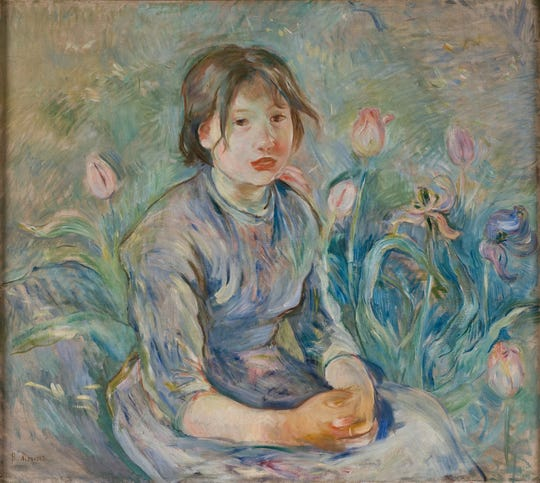 "Berthe Morisot, Dixon permanent Collection, Oil on canvas, ""Peasant Girl Among Tulips,"" Berthe Morisot, 1890, from ""Monet to Matisse,"" courtesy of  the Dixon Gallery and Gardens"