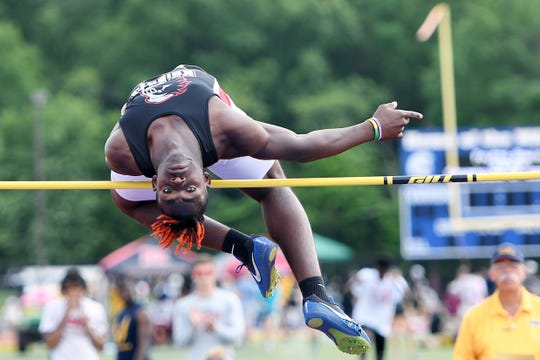The NJSIAA Outdoor Track and Field Group Championships at Franklin High School in Somerset on Friday, May 31, 2019. Jamier Wright-Collins, of Kennedy, in the high jump.