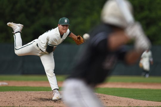 Don Bosco plays Delbarton at home in Morristown on Friday May 31, 2019. D#22 Jack Leiter pitches the ball.
