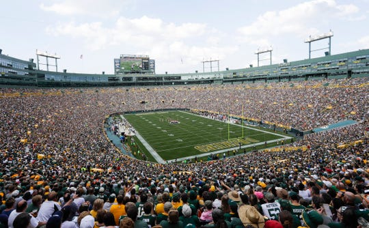 In this Sept. 24, 2017 photo, Lambeau Field is seen during the first half of an NFL football game between the Green Bay Packers and the Cincinnati Bengals, in Green Bay, Wis. Opened in 1957 and eventually named for the famed franchise's first head coach, Lambeau Field was considered the NFL's first football-specific facility.