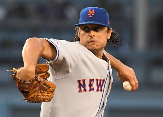 May 30, 2019; Los Angeles, CA, USA; New York Mets starting pitcher Jason Vargas (44) throws the ball in the second inning against the Los Angeles Dodgers at Dodger Stadium. Mandatory Credit: Jayne Kamin-Oncea-USA TODAY Sports