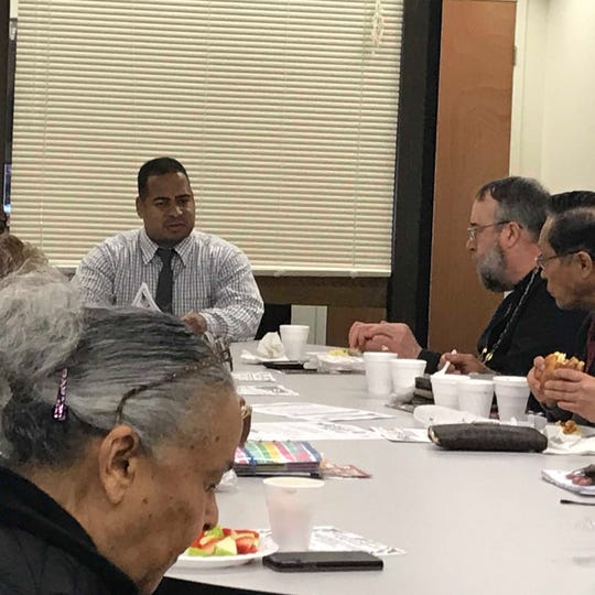Members of Passaic's clergy at the most recent breakfast meeting with Passaic Mayor Hector Lora