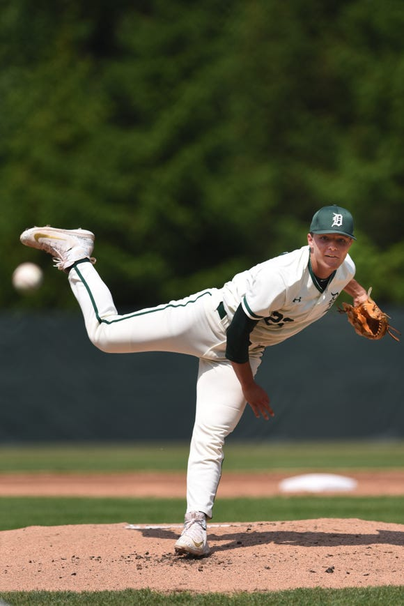 "Delbarton pitcher Jack Leiter (22) during a state tournament game against Don Bosco in Morristown on Friday, May 31, 2019. On Wednesday, Leiter was selected by the Yankees in the  20th round of the MLB draft despite his ""99 percent chance'' of going to Vanderbilt University, said Yankees scouting director Damon Oppenheimer."
