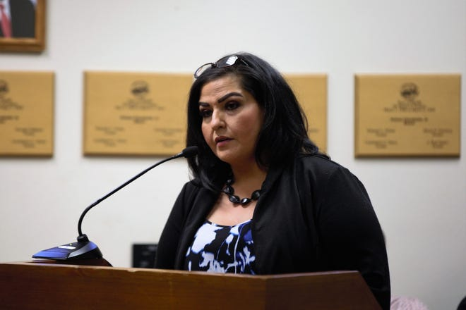 Doña Ana County Clerk Amanda López Askin addresses Mesilla's Board of Trustees at their meeting at Mesilla Town Hall on Tuesday, May 28, 2019.