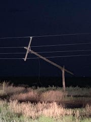 A strong storm snapped a power pole May 30 near Dexter.