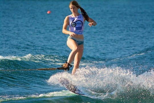 Milton's Kennedy Hansen, 16, competes at the Junior Masters in May 2019. Hansen took first prize in overall and tricks to add to her decorated water ski resume.