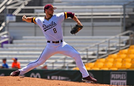 Arizona State starting pitcher Alec Marsh (8) throws in the first inning against Southern Miss at the NCAA college baseball regional tournament, Friday, May 31, 2019,  in Baton Rouge, La. (Hilary Scheinuk/The Advocate via AP)