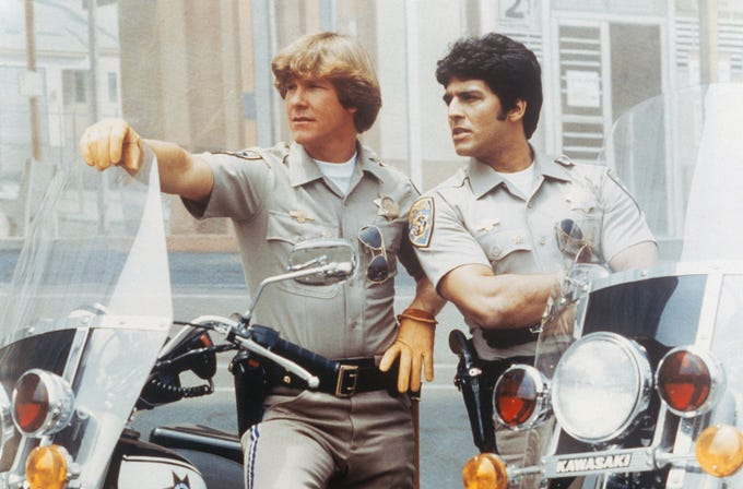 "Larry Wilcox (left) and Erik Estrada starred in ""CHiPs"" from 1977 to 1983."
