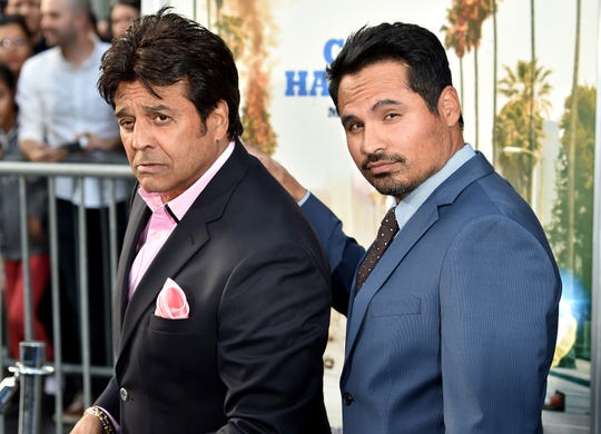 "Ponch meets Ponch: Erik Estrada (left) and Michael Peña clown around at the premiere of ""CHiPs"" on March 20, 2017,   in Hollywood."