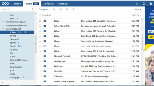 This screenshots was taken while logged into Elizabeth Dinnerstein's email account with Cox Communications. It shows she was able to access the accounts of nine strangers, including their inbox, sent messages, and personal files.