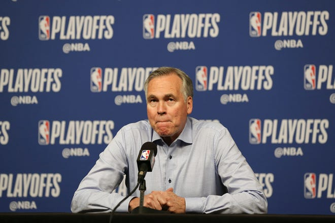 May 10, 2019; Houston, TX, USA; Houston Rockets head coach Mike D'Antoni talks to the media before playing against the Golden State Warriors before game six of the second round of the 2019 NBA Playoffs at Toyota Center.