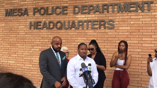 Terence Kirkpatrick, 30, tells reporters that Mesa police used excessive force during his 2017 arrest and then called him the N-word.