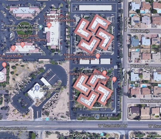 A bird's-eye view of the Fountains Medical Center in Glendale reveals buildings that could be perceived to be in the shape of swastikas.