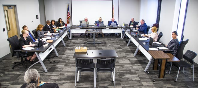 The Arizona Board of Funeral Directors and Embalmers conducts a public meeting in downtown Phoenix on May 21, 2019.