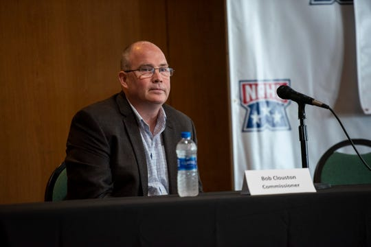 National Roller Hockey League Commissioner Bob Clouston responds to a question during a press conference Friday, May 31, 2019 at McMorran.