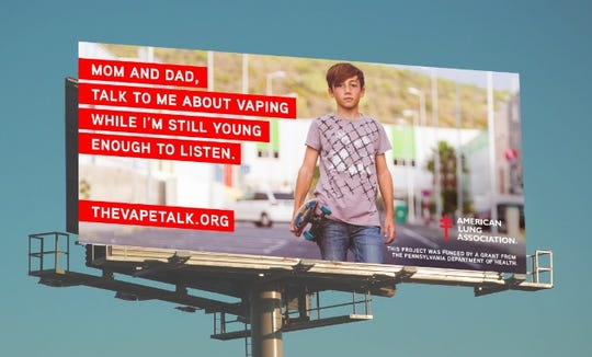 "Rendering of a billboard for ""The Vape Talk,"" an effort by the American Lung Association in Pennsylvania to fight the youth vaping epidemic.  Advertising for the anti-vape campaign will feature in seven target cities throughout the state, including York.  (Photo provided by the American Lung Association)"