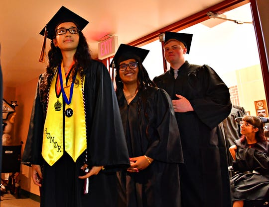 Students prepare for the 127th Annual Hanover High School Commencement at the school in Hanover, Thursday, May 30, 2019. Dawn J. Sagert photo
