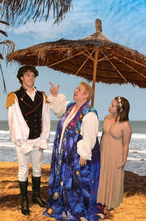 "Jakob D. Winter as Ferdinand, Susan Felder as Prospera, and Jenna Van Weelden as Miranda in the Richmond Shakespeare Festival 2019 production of ""The Tempest."""