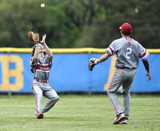 Canandaigua's Michael Sculli, left, makes an out in centerfield during a Class A1 sectional semifinal at Irondequoit High School, Thursday, May 30, 2019.