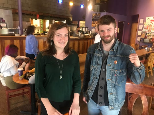 Spot employees Maggie Gelen, left, and Cory Johnson participated in Spot Coffee's union organizing committee. Not pictured is McKena Stickney.