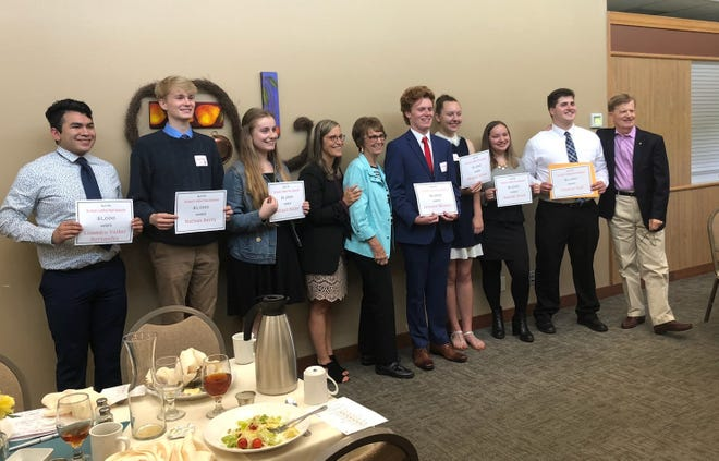 Seven of the eight winners of a 2019 Harold J. Withnell Music Scholarship, left to right: Lisandro Valdez Hernandez, South Salem; Nathan Berry, Sprague; Abigail Butler, West Salem; Salem-Keizer Superintendent Christy Perry; Gail Withnell; Jackson Mowry, West Salem; Abigail Wilson, West Salem; Hannah Wood, West Salem; Clayton Hall, West Salem; and Dick Withnell. Not pictured: Brandon Hilsabeck of South Salem.