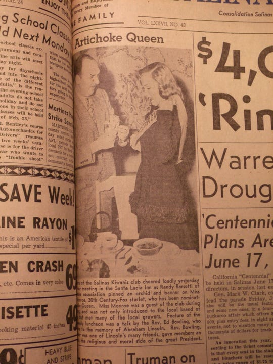 In this Feb. 20, 1948 edition of The Salinas Californian, the Salinas Kiwanis club cheered as an orchid and banner was given to Marilyn Monroe. She was a guest of the club and met many local growers.