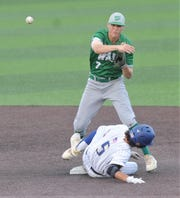 Wall second baseman Jake Jansa throws to first to complete an inning-ending double play after forcing out Brock's Jase Lopez in the sixth inning. Wall beat the Eagles 3-2 in the opener of the Region I-3A championship series Thursday, May 30, 2019, at Abilene Christian University's Crutcher Scott Field.