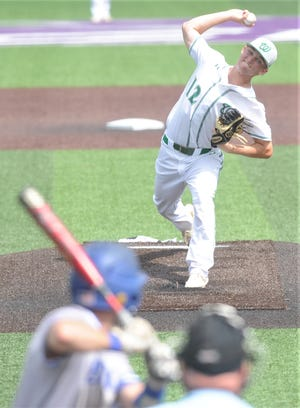 Wall starting pitcher Ryan Gully throws a pitch to a Brock batter in the second inning. Wall beat Brock 20-1 in five innings in Game 3 on Friday, May 31, 2019, at Abilene Christian University's Crutcher Scott Field to win the Region I-3A championship series. Gully went the distance for the victory.