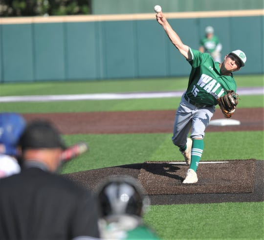 Wall starting pitcher Caleb Heuertz throws a pitch to a Brock batter in the first inning. Wall beat the Eagles 3-2 in the opener of the best-of-three Region I-3A championship series Thursday, May 30, 2019, at Abilene Christian University's Crutcher Scott Field.