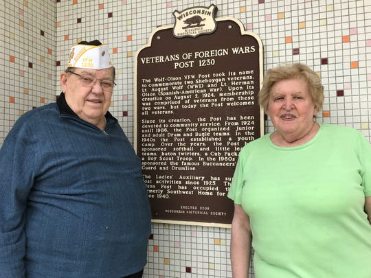 Jerry and Ingrid Wenninger outside VFW Post 1230. The post is disbanding because it couldn't find a replacement for Wenninger, who is the last post commander.