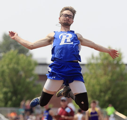 Random Lake's Jarrett Heider competes in the Division 3 long jump finals Friday at the WIAA state track and field meet at Veterans Memorial Field in La Crosse.