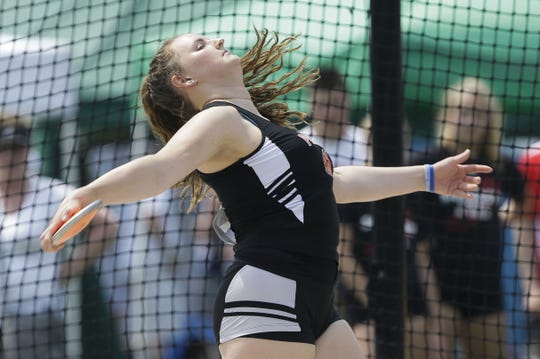 Plymouth's Cece Huhn competes in the Division 2 discus during the WIAA state track and field meet Friday at Veterans Memorial Stadium in La Crosse.