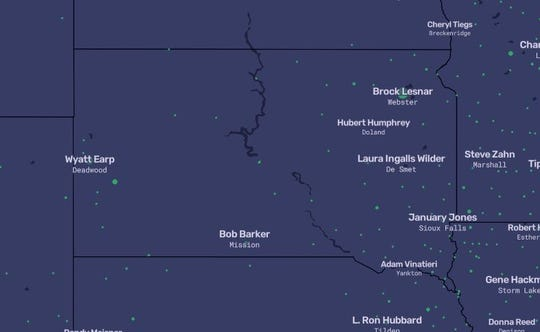 This interactive map posted to online publication The Pudding shows the most-search name on Wikipedia for various towns. The map was produced by Matt Daniels and Russell Goldenberg with data processing help from Angela Wang.