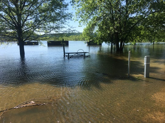 A flooded campground at Truman Lake.