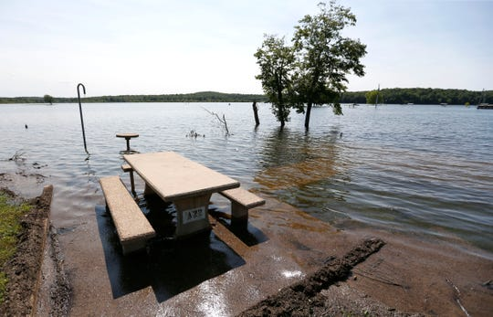 A flooded campsite at Bull Shoals Lake on Friday, May 31, 2019.