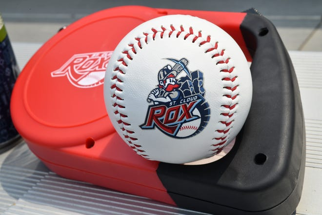 A St. Cloud Rox promo baseball and a retractable least for Bark in the Park night are on display Friday, May 31, at Joe Faber Field in St. Cloud.