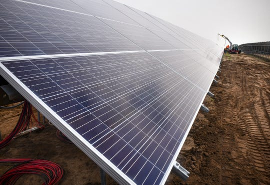 Recently installed solar panels are in place May 30, 2019 at a new solar garden along Sherburne County Road 8 south and east of St. Cloud.