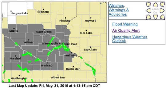 The National Weather Service issued an air quality alert Friday afternoon for much of Central and southwestern Minnesota.