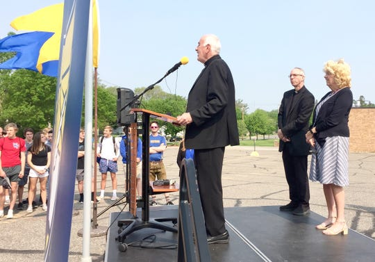 Bishop Donald Kettler of the Diocese of St. Cloud talks Friday, May 31 about Catholic Community Schools' plans to break ground on a new building at Cathedral High School in St. Cloud.
