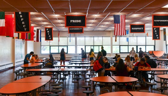 Students eat lunch during the last day of school at Tech High School Friday, May 31, In St. Cloud. In the2019 Minnesota Student Survey,23% of those surveyed reported struggling with those problems, up from 18%in 2016, the last time students were asked.