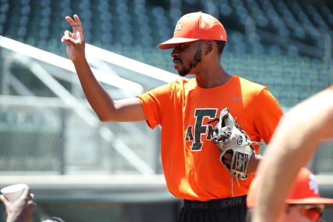 FAMU closer Jeremiah McCollum calls out a pitch during practice at Georgia Tech.
