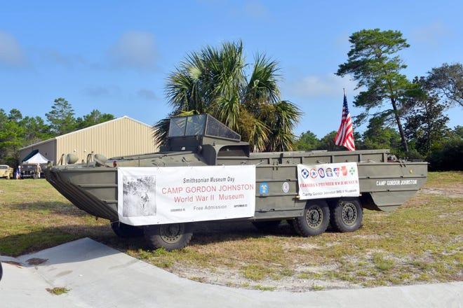 Camp Gordon Johnston's WWII DUKW, military amphibious vehicle.