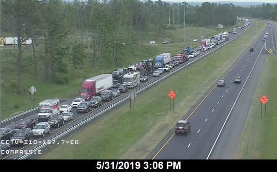 "A traffic camera shows traffic backed up after a ""major incident"" on the roadway."