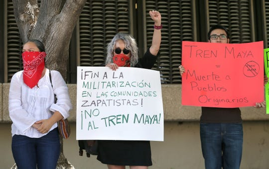 Members of La Red de Resistencia Fronteriza gathered outside the Mexican Consulate on Friday in Downtown El Paso to protest Mexican President Andrés Manuel López Obrador's National Development Plan, which they say would displace thousands of indigenous people in the Yucatan Peninsula. Those against the projects such as the Maya Train and Trans-Isthmus Corridor say it threatens indigenous villages and the ecosystem.