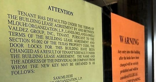 A sign on the front door of Elmer's Family Restaurant at 6305 Montana Ave. in East-Central El Paso, notifies customers that the restaurant has been locked out of the building by the landlord.